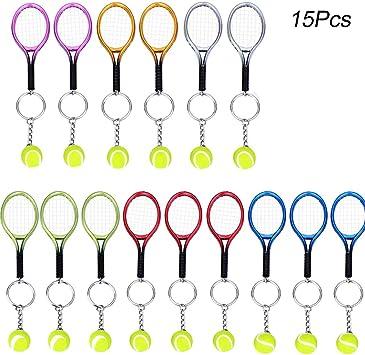 Creatiees 15pz Mini Tenis Raqueta Llavero Llave Anillo, Llavero ...