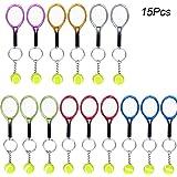 Creatiees 15pz Mini Tenis Raqueta Llavero Llave Anillo, Llavero Estilo Deportivo Split Amantes del Deporte