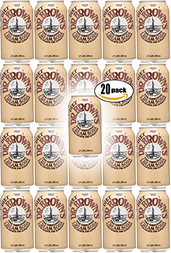Dr. Brown's Diet Cream Soda, 12oz Can (Pack of 20, Total of 240 Oz)