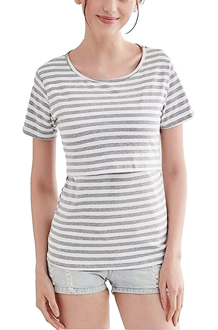 Womens Nursing Shirt Maternity Striped Tees Top Tank for Breastfeeding
