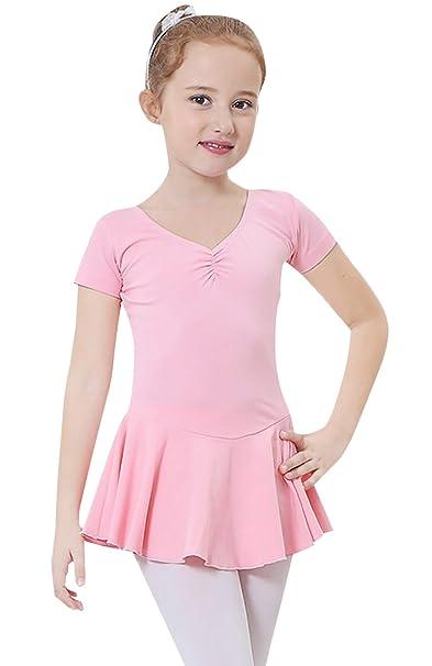 Happy Cherry - Vestido de Ballet Danza Uniforme Deportivo para Niñas Falda Traje Maillot de Gimnasia con Manga Corta Elástico - Rosa - Talla ES 4-5 ...