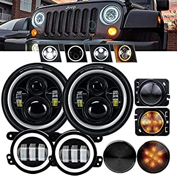 4XBEAM DOT Approved 7 LED Projector Headlights Amber Turn Signal Hi//Lo Beam DRL 4 Front Bumper Fog Lights w//Amber Turn Signal For 2007-2017 Jeep Wrangler JK Rubicon JKU Sahara Sport Unlimited