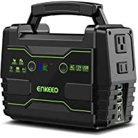 ENKEEO Portable Power Station 155Wh Lithium Battery Supply with AC DC QC3.0 USB Ports, Solar Electric Generator for Camping Travel Home Emergency, 100W Devices Supported