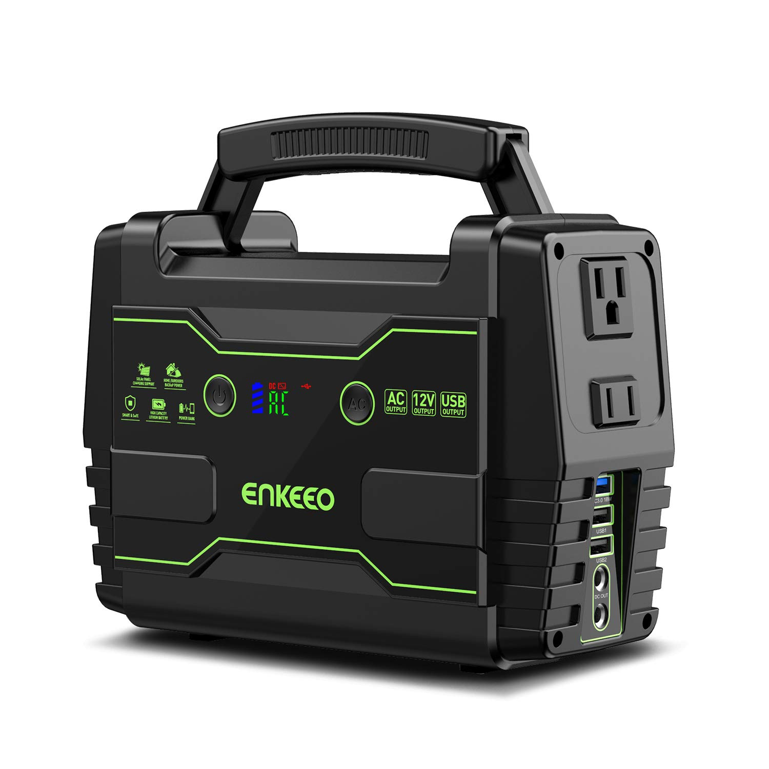 ENKEEO Portable Power Station 155Wh Lithium Battery Supply with AC DC QC3.0 USB Ports, Solar Electric Generator for Camping Travel Home Emergency