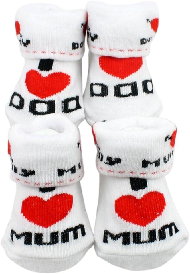 con scritta I Love Mom lingua italiana non garantita per neonati da 0 a 6 mesi Bei calzini bianchi in cotone da bambino