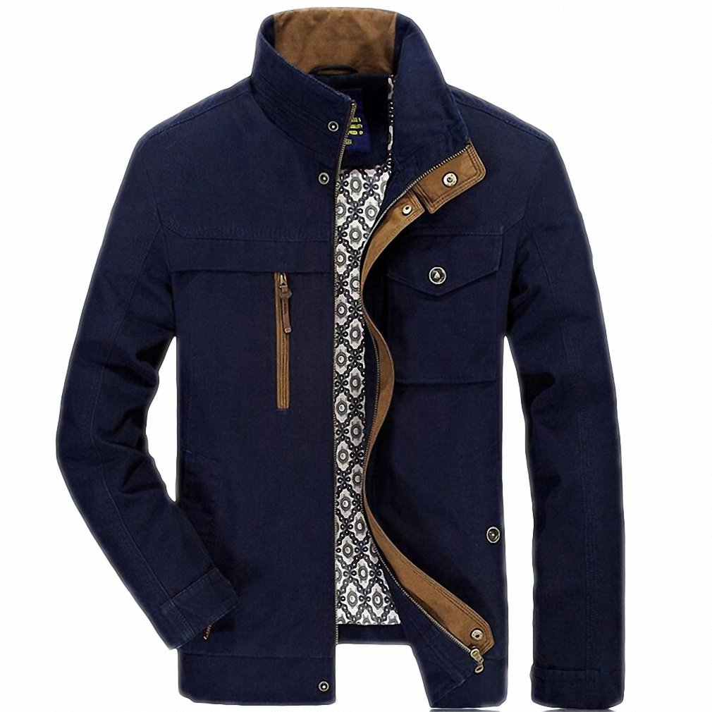 Autumn Jacket Men Casual Stand Collar Cotton Windbreaker Mens Jackets And Coats Plus Size L-4XL at Amazon Mens Clothing store: