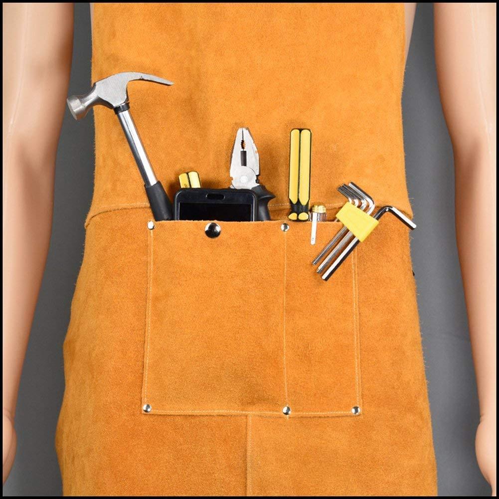 QEES Delantal de soldadura de cuero Blacksmith Delantal, resistente retardante de llama soldador trabajo delantal, Unisex Ajustable Work Shop ropa de ...