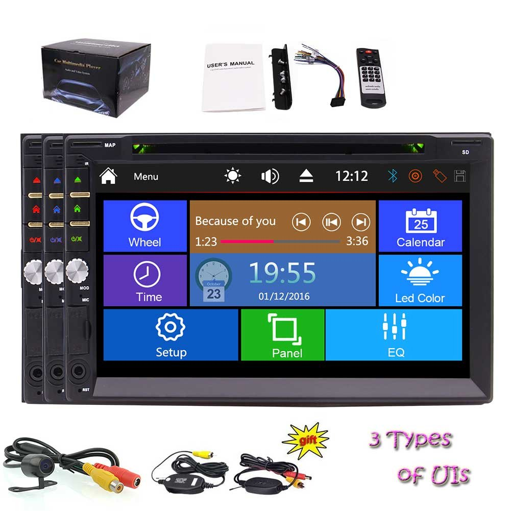 ダッシュステレオオーディオビデオのBluetooth / SD / USB / FMは/ AM / RDS /サブウーファー/ビデオアウト/ 1080 +リモコン+ワイヤレスバックカメラでダッシュ容量性タッチスクリーン車のDVDプレーヤーでダブル2台の喧騒ユニバーサル車用7インチ B07BW9KG7R