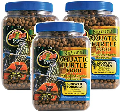 - Zoo Med 3 Pack of Natural Aquatic Turtle Food with Growth Formula, 7.5 Ounces Per Container