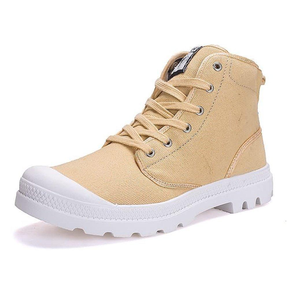 Jiuyue schuhe Frühjahr/Sommer 2018 Men & Damens's Fashion Sneaker Große Größe High Top Canvas Schuhe Lace up Anti Rutsch Laufsohle bis Größe 47EU (Farbe : Khaki, Größe : 39 EU)