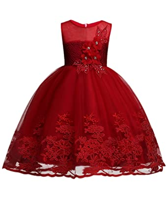 MisShow Girls Sequins Dress Flower Princess Sleeveless Formal Party Tulle Girls Dresses Purple 100