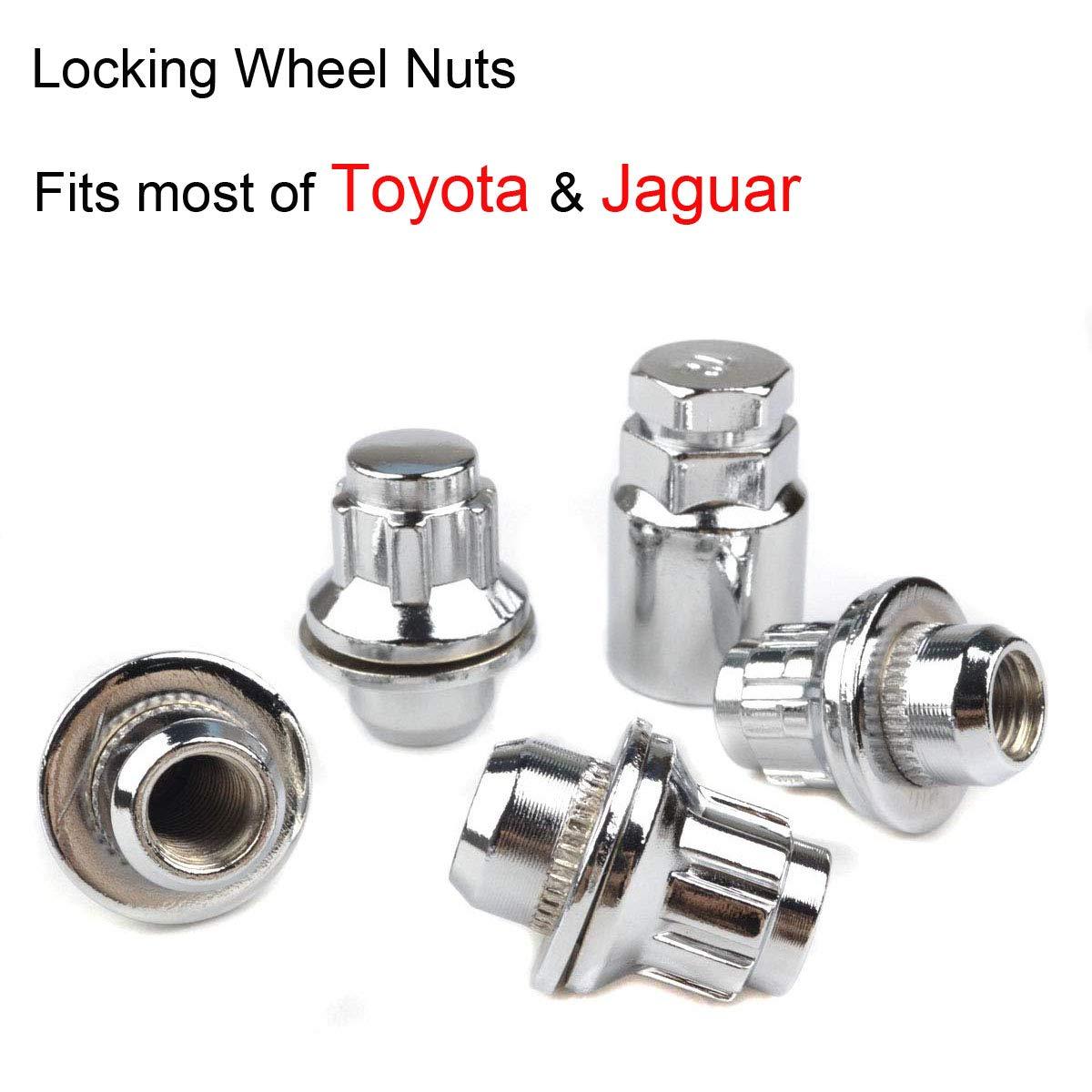 RunQiao M12x1.5 Wheel Locking Nuts Flat Seat Security Lug Bolts for Toyota