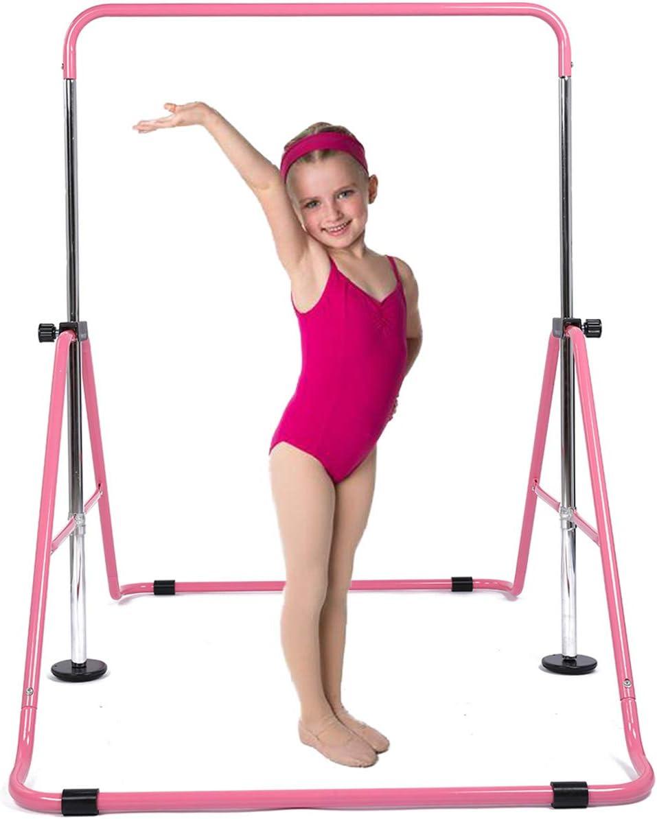 DOBESTS Gymnastics Bar Kids Gymnastic Equipment for Home Folding Junior Training Bars Expandable Kip Bar for 3-7 Years Old Children