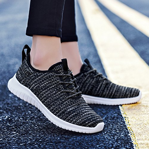Tiosebon Mujeres Light Gold Thread Transpirable Sports Zapatos Sneakers 2111 Black