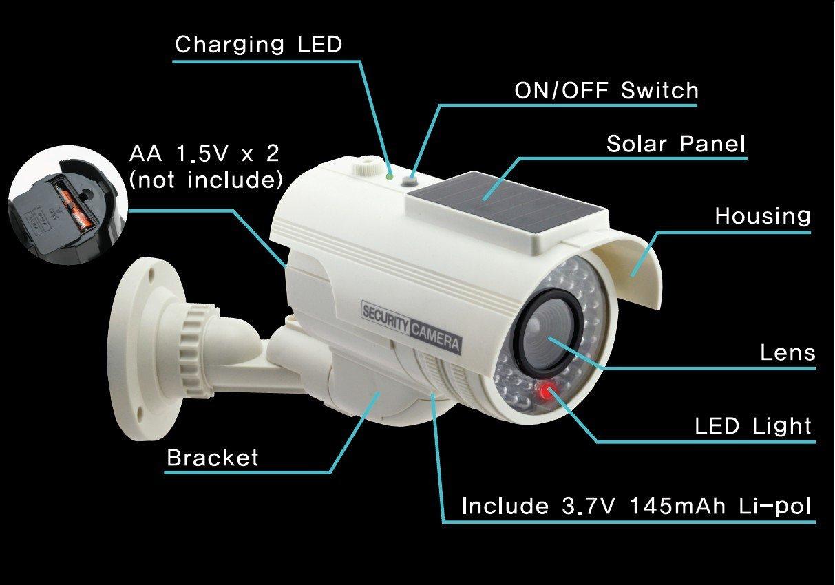UniquExceptional UDC9white Solar Powered Fake Dummy Security Camera