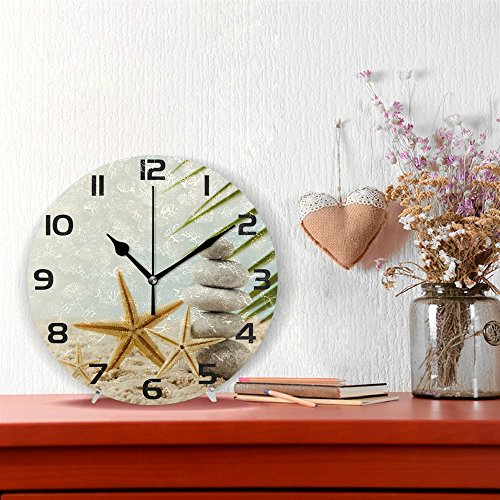 WellLee Stones Spa Treatment Scene Sea Clock Acrylic Painted Silent Non-Ticking Round Wall Clock Home Art Bedroom Living Dorm Room Decor by WellLee (Image #1)