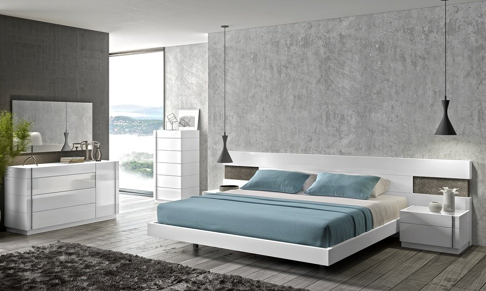 Captivating Amazon.com: Ju0026M Furniture Amora White Lacquer Queen Size Bedroom Set:  Kitchen U0026 Dining Images