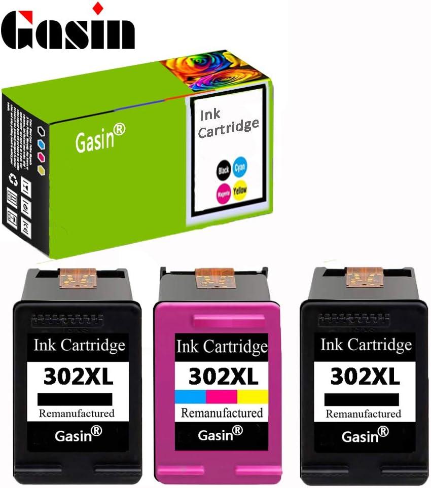 GASIN Cartucho de tinta remanufacturado para HP 302 xl (2Black & 1Tri-color) Compatible con Envy 4524 4522 4523 4520 Officejet 3830 Deskjet 3630 Impresora: Amazon.es: Informática