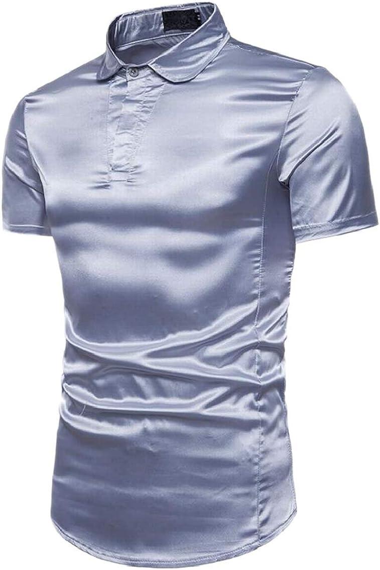 Men Nightclub Button Down Short Sleeves Shirts Fashion Slim Disco Dance Tops