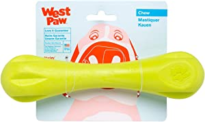 West Paw Zogoflex Hurley Dog Bone Chew Toy – Floatable Pet Toys for Aggressive Chewers, Catch, Fetch – Bright-Colored Bones for Dogs – Recyclable, Dishwasher-Safe, Non-Toxic, Made in USA