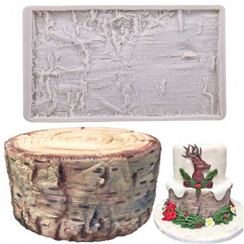 Tree Bark Fondant Impression Mat, Earth Mud Wall Texture Silicone Lace Mold Forest Party Silicone Imprint Mold Wood Cake Border Gum Paste Sugar Craft Decorating Supplies Fondant Impression Mats