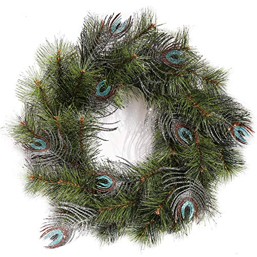 (Leelife Wintry Pine Christmas Wreath, Designer Full Crestwood Spruce Peacock Feather Christmas Wreath Enhances Front Door)