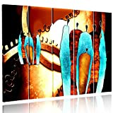 Feeby. Multipart Canvas - 5 panels - Wall Art Picture, Image Printed on Canvas, 5 parts, Type C, 200x100 cm, ABSTRACTION, CHARACTERS, AFRICA, CIRCLES, BROWN, BLUE