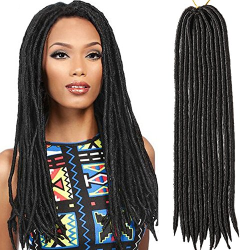 6packs/lot Faux Locs Crochet Twist Braids Synthetic Hair Extensions Fauxlocs Kanekalon Fiber Braiding Hair Afro Kinky Soft Dread Dreadlocks 2# Color Black 14'' 18'' (18'' (6 packs/lot), 2#) (Hair Locks Extensions)