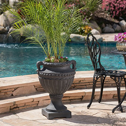 Cheap  Great Deal Furniture Alice Outdoor Antique Black Finish Light Weight Concrete Urn