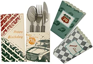 70th birthday party supplies - Popcorn Treat Boxes - cutlery holder pouch - Classic car theme party decorations for men. Set of 24