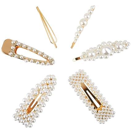 Gaishi 6pcs Perlas de Pelo para Mujeres niñas Perlas Pinzas para el Cabello Hechos a Mano Decorativos para Fiestas Bodas cumpleaños Banquetes Reg
