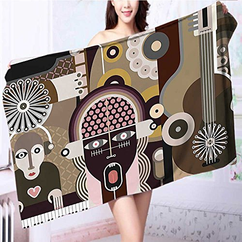 Premium Extra Bath Towel Vector of a Rock Concert Musician Keyboard and Guitar Print Taupe and Brown Soft Cotton Machine Washable L39.4 x W19.7 INCH -