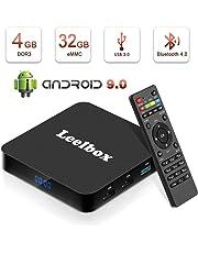 Android 9.0 TV Box, Android Box 4GB RAM 32GB ROM, Leelbox Q4 TV Box RK3328 Quad Core 64 bit Box TV, USB 3.0, BT 4.0, 2.4G Wi-Fi, HDMI, Android TV UHD 4K Smart TV Box