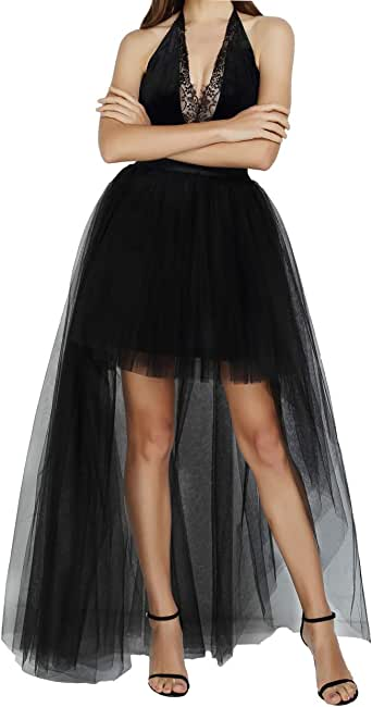FEOYA Women High Low Tutu Skirts Layered Mesh Tulle Skirt Princess Wedding Evening Prom Dovetail Skirts