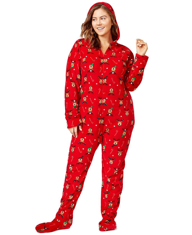 Family Pajamas Women's Plus Size Reindeer-Printed Footed Pajamas (Reindeer, 2X)