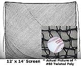 12' x 14' #84(120 PLY) TwineX-HEAVY Duty Baseball Softball Batting Cage Screen Baffle Net