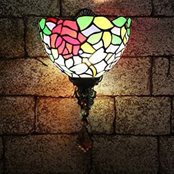 ALUS-8-inch European-style garden mirror glass bedside lamps lighting wall lamp Tiffany Jane Europe