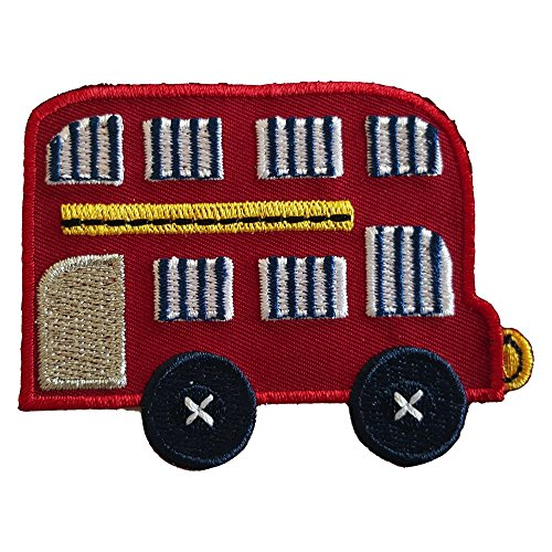 2 iron-on appliques set - Doubledecker Bus 8X6Cm and Cat 4X10Cm embroidered application set by TrickyBoo Design Zurich Switzerland