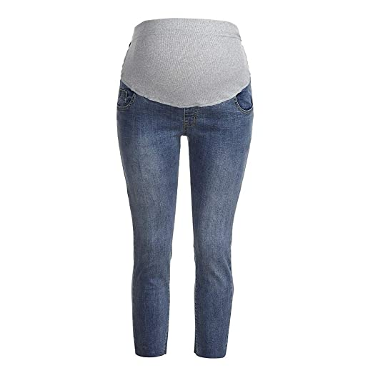 0fb00d6170a71 Amazon.com: Pregnancy Skinny Jeans, 2019 Pregnant Woman Ripped Jeans  Maternity Pants Trousers Nursing Prop Belly Legging: Clothing