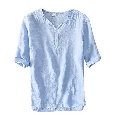 modernes Design hohes Ansehen 100% Qualitätsgarantie Icegrey Herren Kurzarm Leinen Hemd Mode Leinen T-Shirt Freizeit Hemden  Sommer Hemd