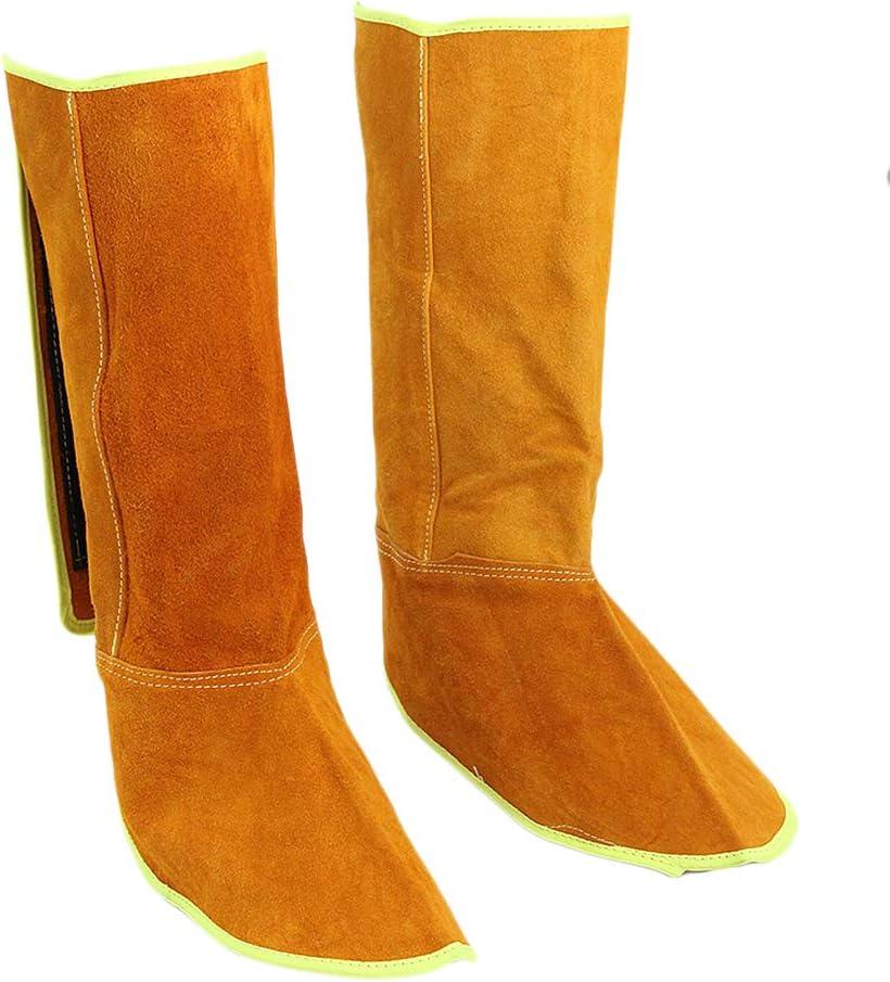 Milageto Cuero Resistente Al Calor Soldadura Cubierta Protectora De Zapatos Gancho Y Lazo