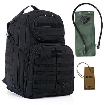 40L Military Army Assault Pack Mil-Tec Combat Mochila Mochila Sport Mochila Camping Trekking Bolsa con 2.5L Vejiga de Agua Hidratación Negro negro: ...