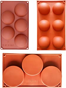 (3 Pack )3 cylinders mold, 5 Half And 6 half Large Circle Ball Round Holes Silicone Mold For Chocolate,Cake,Desserts,Baking DIY,Cupcake Baking Pan kitchen Bakeware