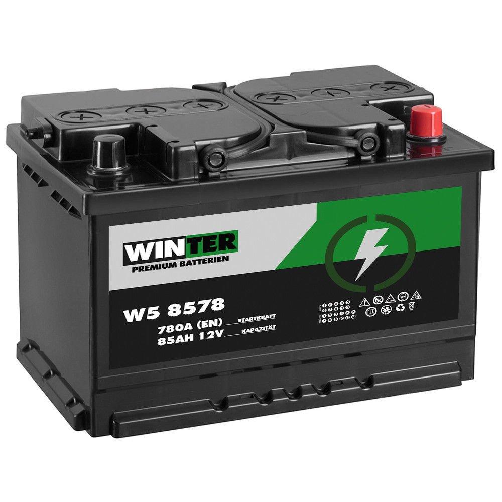 WINTER Premium Autobatterie 12V 85Ah 780A/EN statt 72Ah 74Ah 75Ah 77Ah 80Ah WINTER Batterien W5 8575