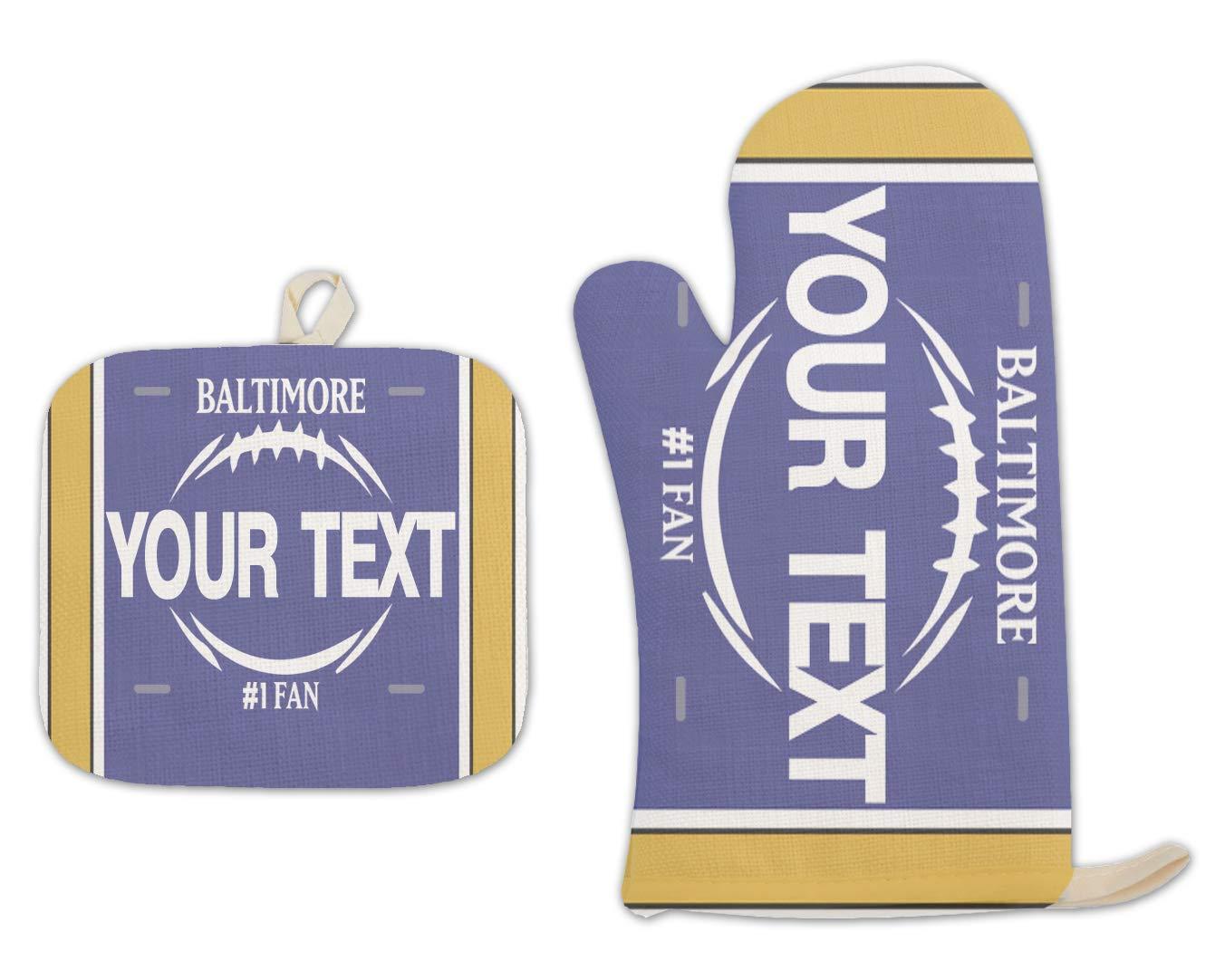 Bleu Reign BRGiftShop Personalized Custom Name Football Team Baltimore Linen Oven Mitt and Potholder Set