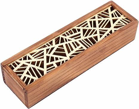 Caja retro portátil hueca de madera para lápices, caja de ...