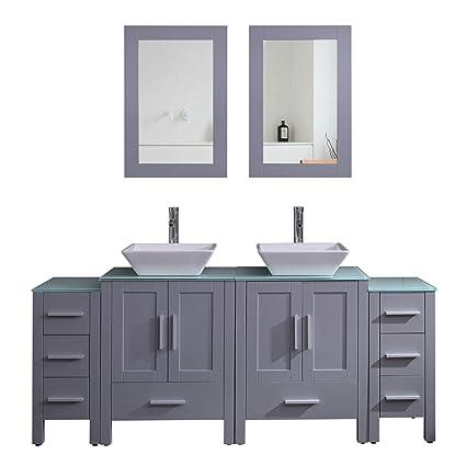. Goodyo Modern Gray Double Sink Bathroom Vanity Cabinet 72 inch