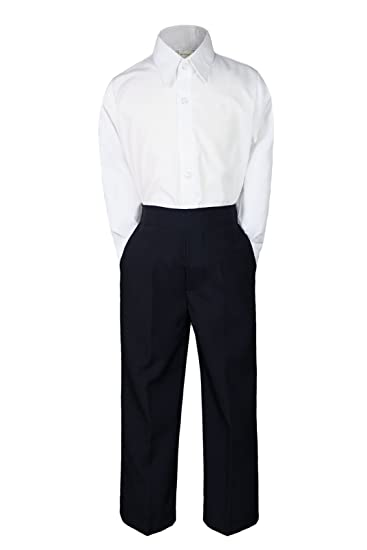 8e16bdc141 Amazon.com  2pc Formal Wedding Boys White Shirt Black Pants Sets ...