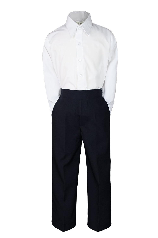 2pc Baby Boy Kid Teen Formal Party Tuxedo Suit Dress Shirt & Black Pants Sm-20