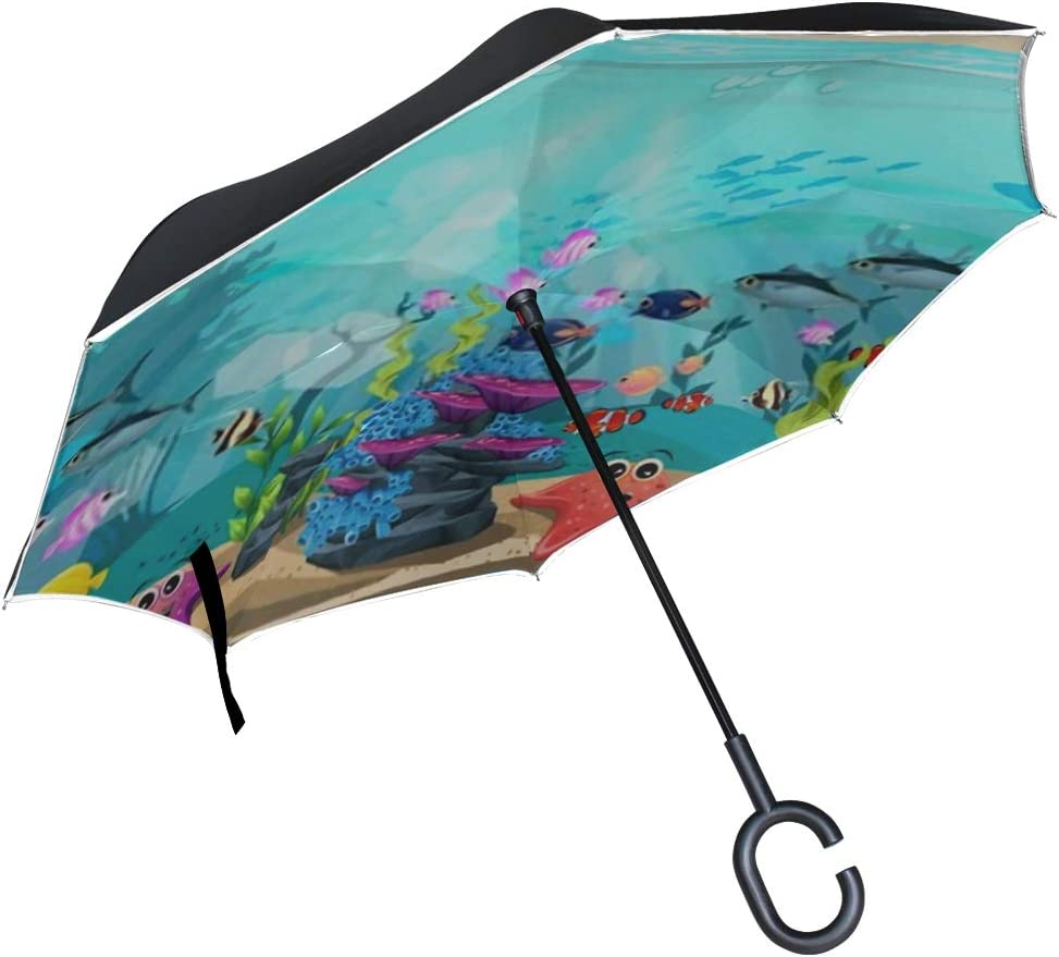 Double Layer Inverted Inverted Umbrella Is Light And Sturdy Beauty Underwater Life Different Animals Habitats Reverse Umbrella And Windproof Umbrella